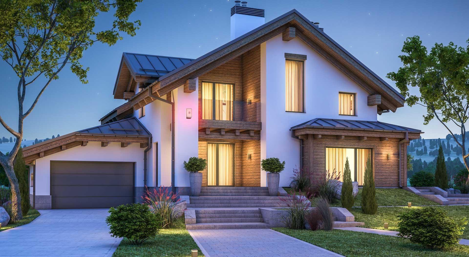 Haus beleuchtet mit Alarmanlage geschützt